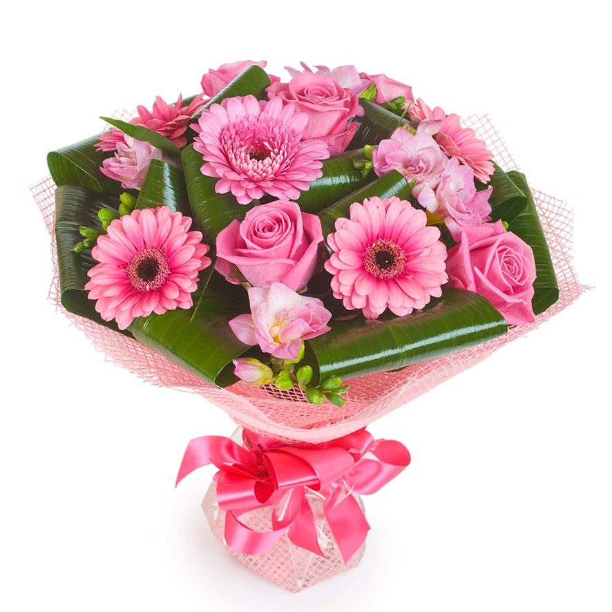 Букеты герберы с розами